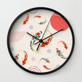 Koi Fish Yin Yang Geometrical Abstract Wall Clock