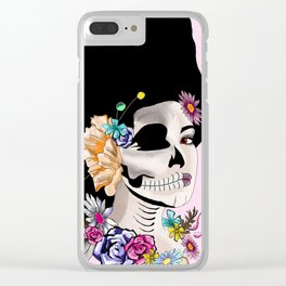 Sugar Skull Woman, Pink Background Clear iPhone Case