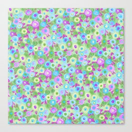 Rose garden roses cottage pink purple green turquoise pattern Canvas Print