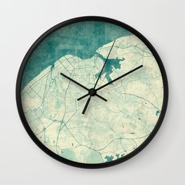 Havana Map Blue Vintage Wall Clock