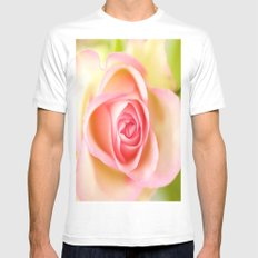 Lovely delicate pink rose White MEDIUM Mens Fitted Tee