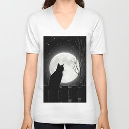 Silent Night Cat and full moon Unisex V-Neck