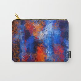 psychedelic geometric polygon shape pattern abstract in red orange blue Carry-All Pouch