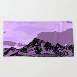 Chugach Mountains - EggPlant Pop Art Beach Towel