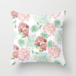 Peony and Hydrangea Pattern Throw Pillow