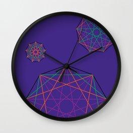 Nonagon Triad Violet Wall Clock