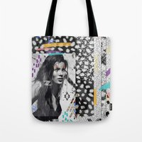 kate moss Tote Bags featuring KATE MOSS TRIBE by Vasare Nar
