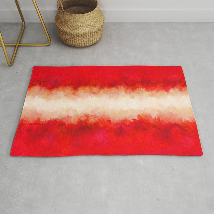 Bright Ruby Red Cream Abstract Rug By