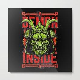 Demon Inside Samurai Mask Metal Print