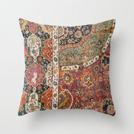 Persian Medallion Rug II // 16th Century Distressed Red Green Blue Flowery Colorful Ornate Pattern Throw Pillow