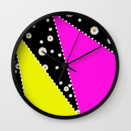 Retro Neon Dasiy Pattern Wall Clock