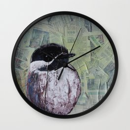 Chickadee Bird on Newsprint Wall Clock