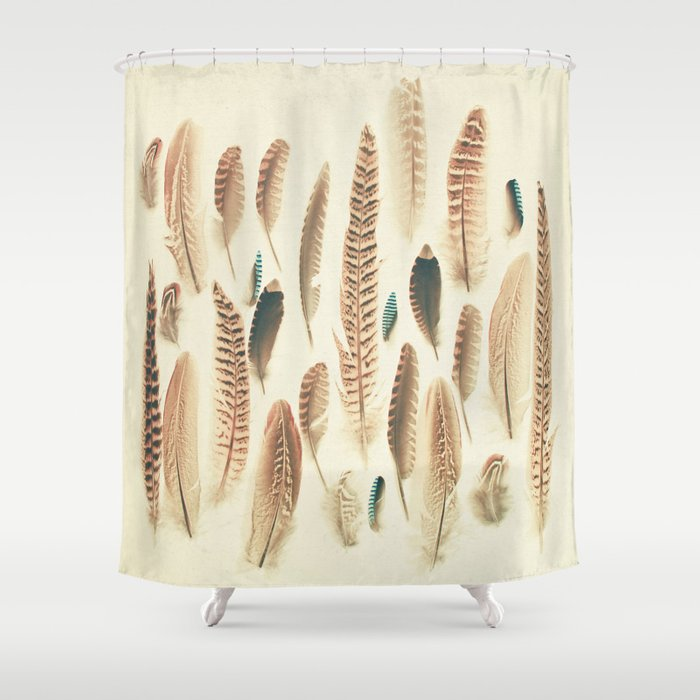 Found Feathers Shower Curtain