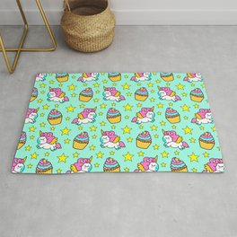 Cute colorful magical baby unicorns and sweet yummy cupcakes and bright golden stars green fantasy pattern design. Nursery decor ideas. Funny gifts for unicorn lovers. Rug