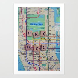 New York City, NYC Map, Subway, Travel Art Print
