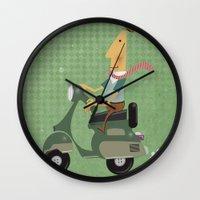 vespa Wall Clocks featuring Vespa by Aguinaldo Goncalves