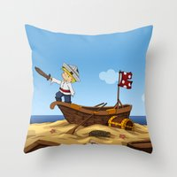pirate ship Throw Pillows featuring Pirate by TubaTOPAL