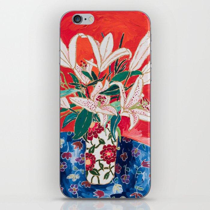 Blush Lily Bouquet on Orange iPhone Skin