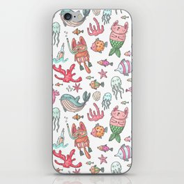 Hand painted pink teal nautical coral fish pattern iPhone Skin