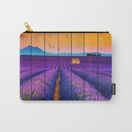 Faux Wood Texture Lavender Fields and Sunset Landscape Photograph Carry-All Pouch