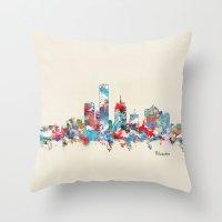 milwaukee Throw Pillows featuring Milwaukee Wisconsin skyline by bri.buckley