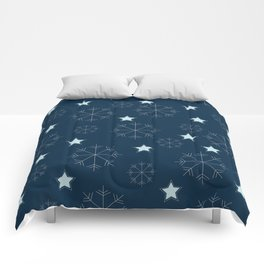 Snowflakes and stars - blue Comforters