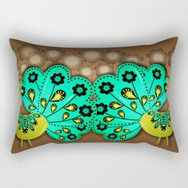 A Pair Of Copper Peacocks Rectangular Pillow
