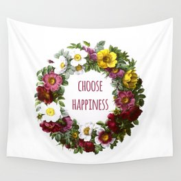 Choose happiness - Inspirational Quote + Vintage Illustration Print Wall Tapestry