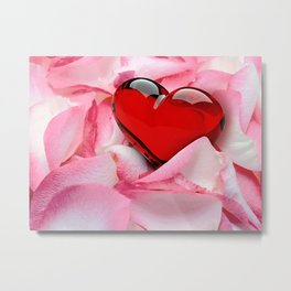 Rose Petals with red glossy Heart Metal Print