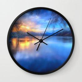 The Last Light sunset on the Sacramento River Wall Clock