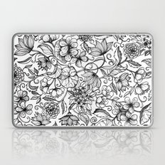 Hand drawn pencil floral pattern in black and white Laptop & iPad Skin