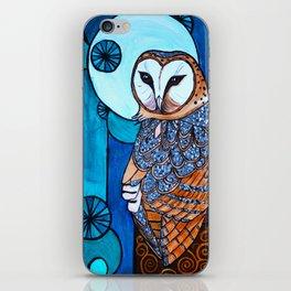 Barn Owl Art Nouveau Panel in blue iPhone Skin
