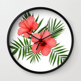 Tropical floral composition Wall Clock