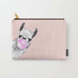 Bubble Gum Black and White Sneaky Llama in Pink Carry-All Pouch