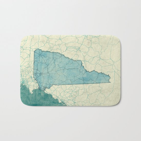 New Hampshire State Map Blue Vintage Bath Mat