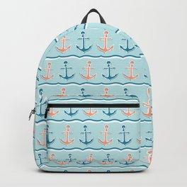 Cute stripe marine anchor seamless vector pattern. Backpack