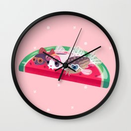 Cory cats in the swimming pool Wall Clock