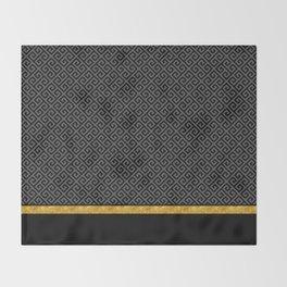 Chic Black Gray Greek Key Gold Border Throw Blanket