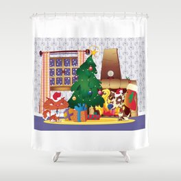 Merry Christmas Cat and Dog Shower Curtain