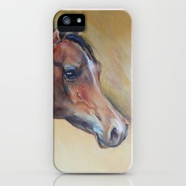 Arabian Horse portrait Brown horse head Oil painting iPhone Case