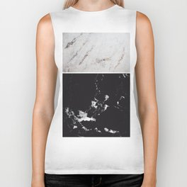 White Glitter Marble & Black Marble #1 #decor #art #society6 Biker Tank