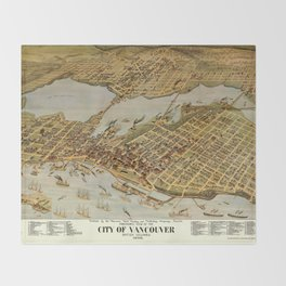 Vintage Pictorial Map of Vancouver BC (1898) Throw Blanket