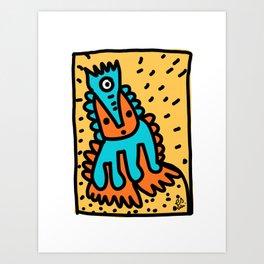 Orange Blue Cool Graffiti Art Creature  Art Print