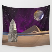 floyd Wall Tapestries featuring Purple light swirls round and round thinking thoughts that make no sound by Donuts