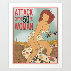 Attack of the 50 Foot Woman Vintage Movie Poster Art Print