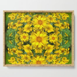 YELLOW COREOPSIS FLOWERS GREEN GARDEN Serving Tray