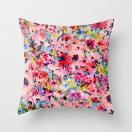 Little Peachy Poppies Throw Pillow