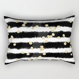 Modern black watercolor stripes chic gold confetti Rectangular Pillow