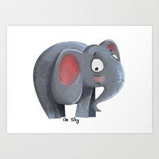 Elly the Shy elephant Art Print