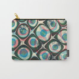 Transparent dots, cyan & pink, marble Carry-All Pouch